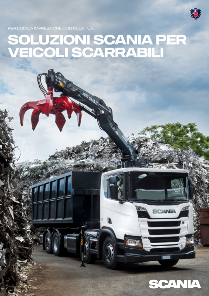 Marchesi gru displayed on Scania Italia brochure cover