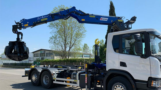 refuse-loader-scrap loader-truck mounted crane